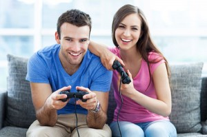 couple-playing-video-game-in-Man-cave