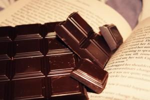 dark chocolate and book